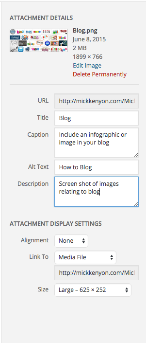 Blog photo metadata