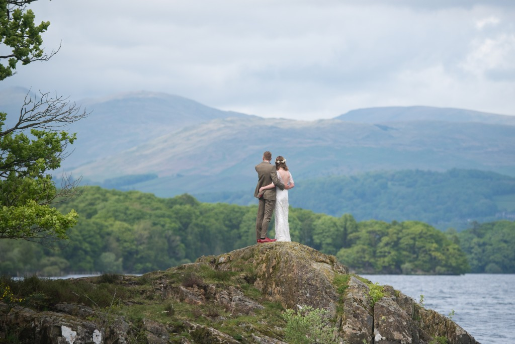 Wedding photo taken on lake windermere in the Lake District